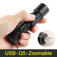 Mini USB LED Flashlight Rechargeable Q5 Handy Powerful Flashlight 3 Modes Zoomable Led Torch Light Lanterna