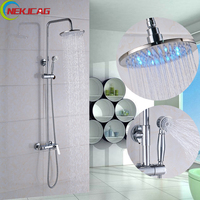 Wholesale And Retail LED Shower Faucet Set Brass Hand Shower+ Mixer Tap + 8 10 inch Shower Head