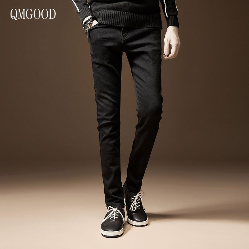 QMGOOD 2017 New Spring and Summer Men's Cotton Black Tight Jeans Casual Fashion Trend Stretch Slim Straight Jeans Men 30 31 32