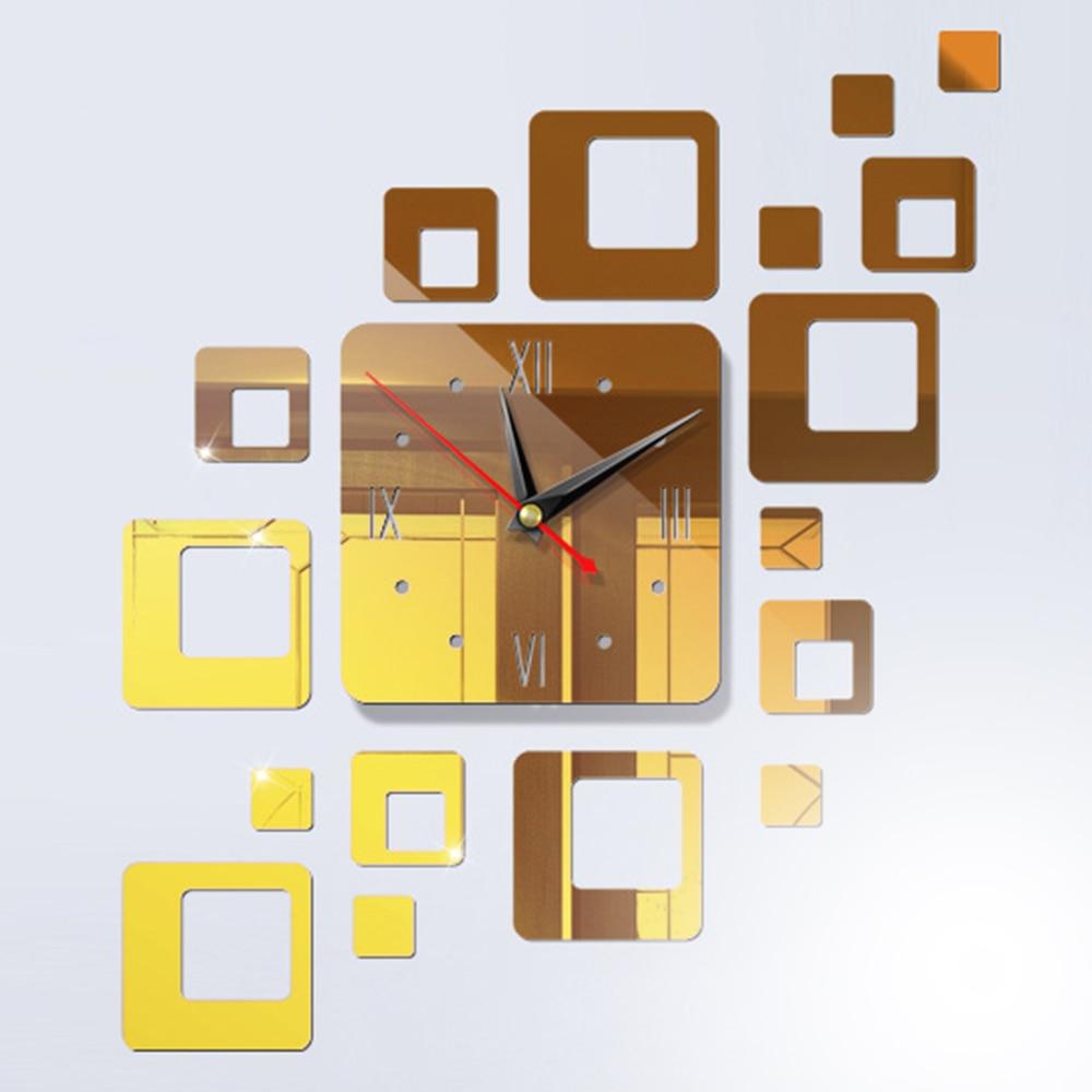 DIY 3D зеркальные настенные наклейки настенные часы художественная роспись домашний Декор Гостиная ТВ Фоновые наклейки настенные часы кварцевые иглы - Цвет: F DeepGold