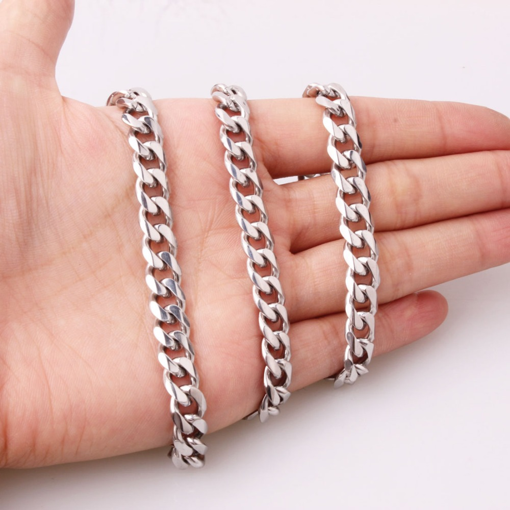 8mm Silver Color Stainless Steel Curb Cuban Link Chain Necklace Or Bracelet 7-40 Inches Length For Male Free Customized Size