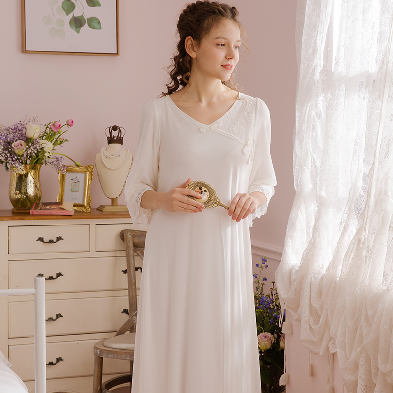 Retro Chinese Sleepwear Women Gown Sleepwear Nightgown Long ...