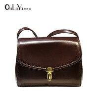 Korean version of the lacquer one shoulder lock cover type small Messenger bag saddle bag handbag