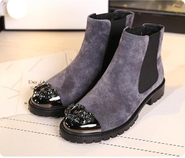 Courtes Chaussures Pic Rond En Peluche Courte Cristaux Femmes De Slip Plat Doublure Bout Pic Chaud as Hiver on Chelsea Cheville Daim As Bottes qBUOBw