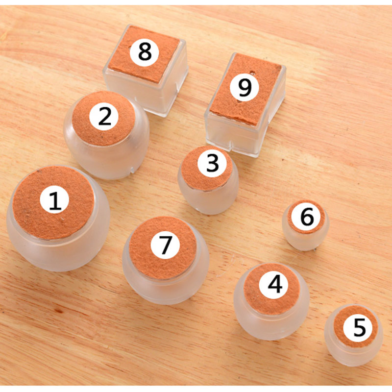 10pcs Silicone Rectangle Square Round Chair Leg Caps Feet Pads Furniture Table Covers Wood Floor Protectors   QJ888