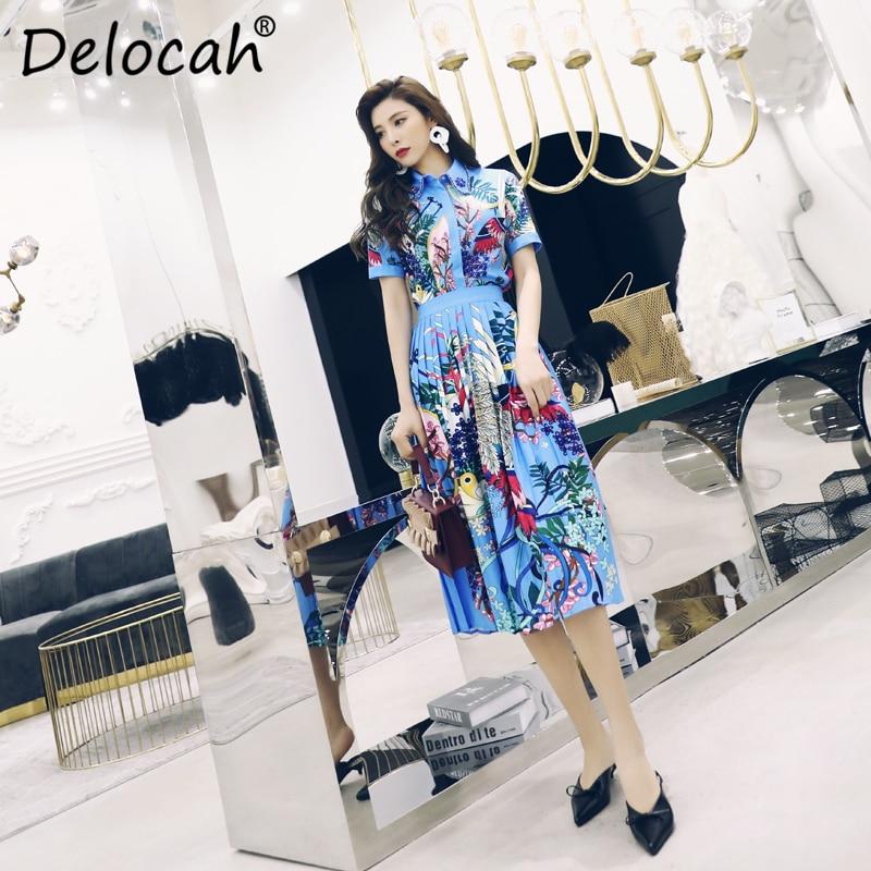 Delocah Women Spring Summer Set Runway Fashion Designer Short Sleve Gorgeous Beading Crystal Beading Plant Printed