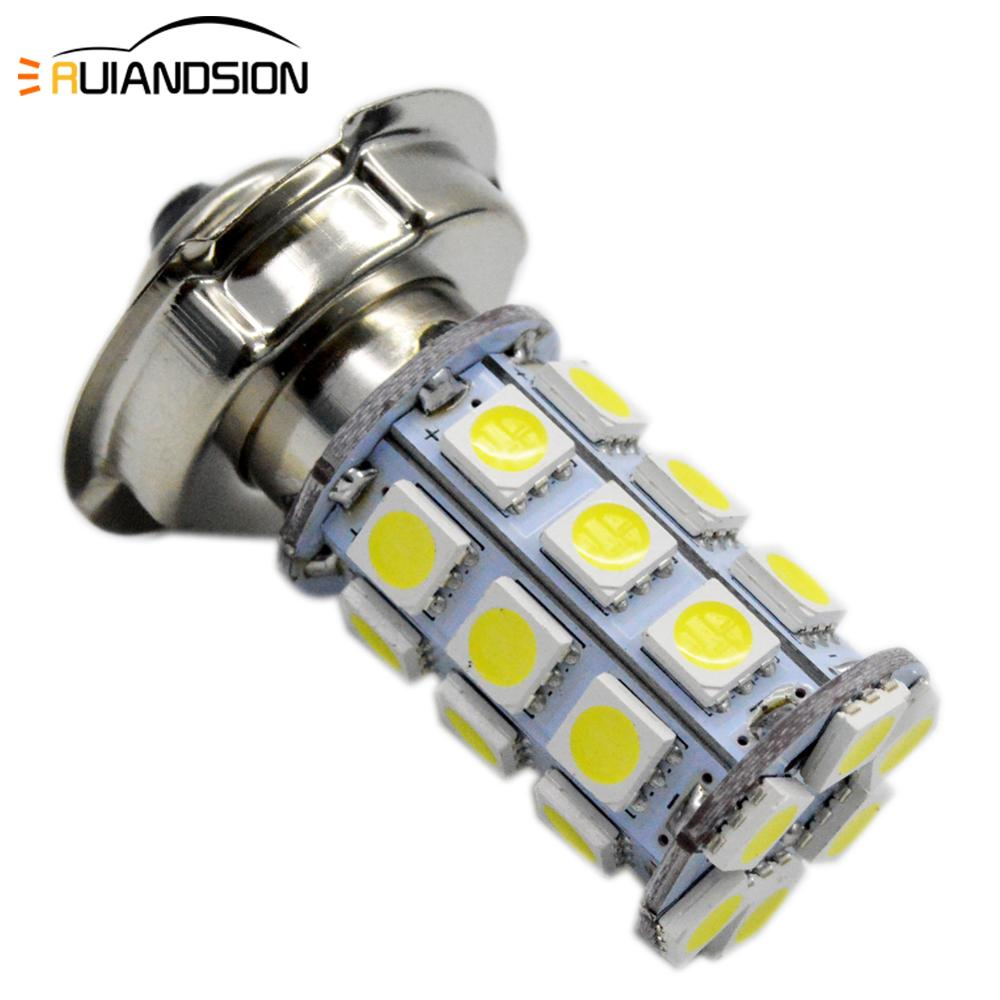 1x 8W P26S Motorcycle LED Light Lamp 6V 12V 10-30V Headlights Headlamp Front ATV Mopped Bulb For Honda Kawasaki 6000K 720LM