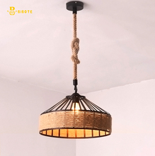 Modern LED chandelier Retro industrial wind rope with Edison bulb through dining room study aisle free shipping
