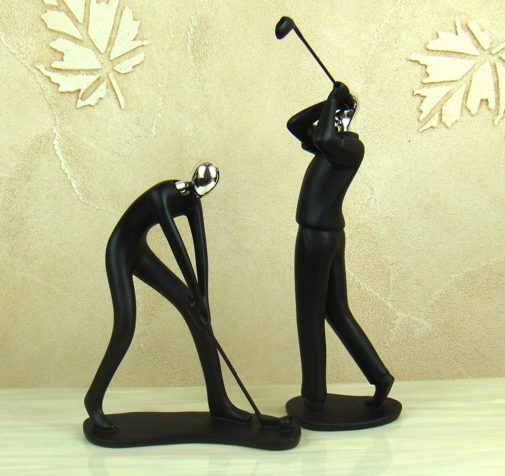Abstract Golf Player Sculpture Handmade Resin Golfer Miniature ...