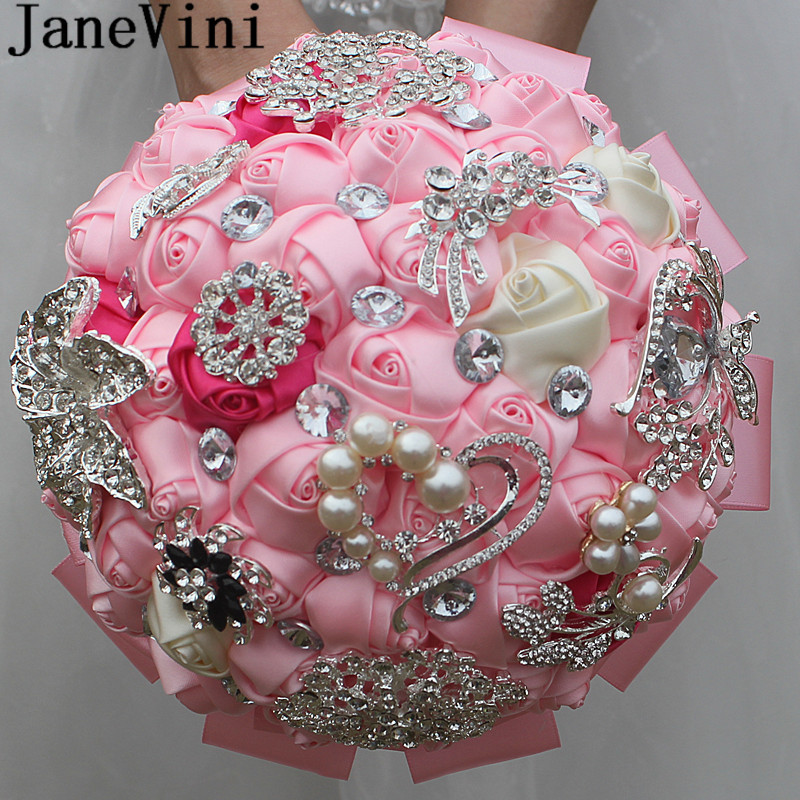Pink Flower Wedding Bouquet: JaneVini Shiny Rhinestone Crystal Wedding Bride Bouquet