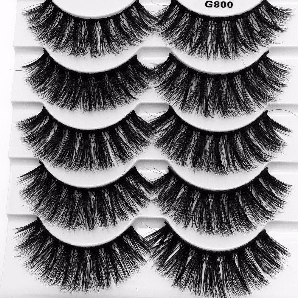 NEW 5 pairs 100% Mink Fake Eyelashes 3D Natural False ...