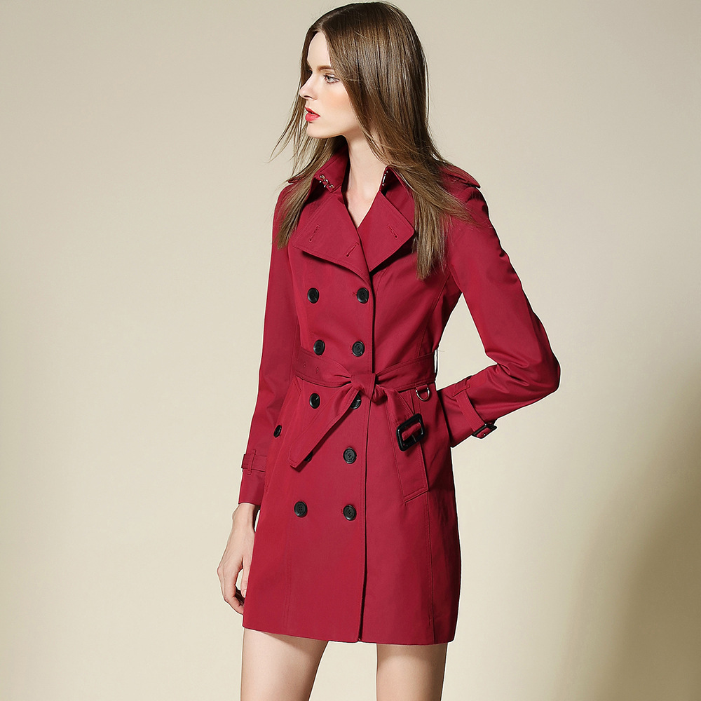 New 2017 Spring Coat Brand Elegant Double Breasted Cotton Burderry Women  Red Trench Coat With Belt - Online Get Cheap Red Trench Coats -Aliexpress.com Alibaba Group