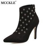 MCCKLEสุภาพสตรีแฟชั่นเซ็กซี่ใบบนซิปเสือดาวโลหะแหวนรองเท้าข้อ