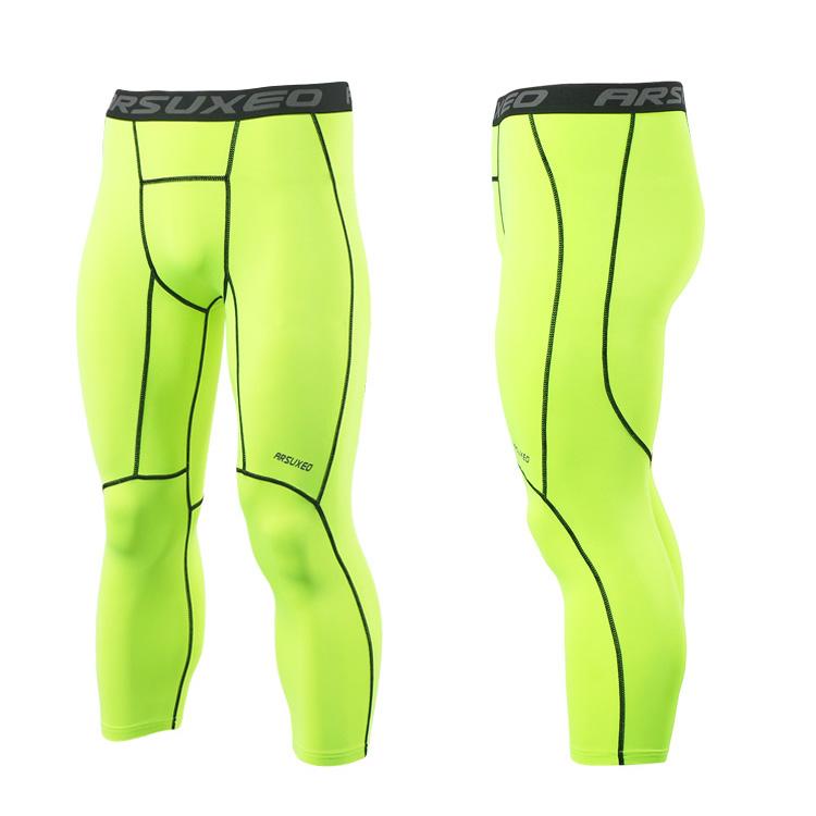 Meggings - leggings pour homme coupe 3/4 pantacourt de sport gym yoga vert fluo, vue latérale