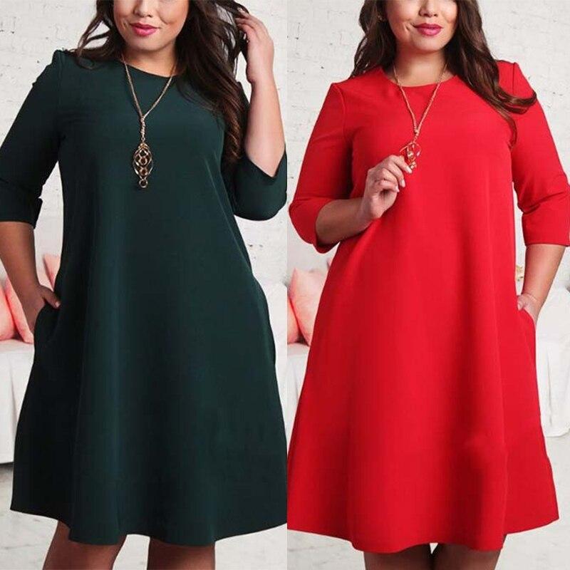 2017 Women Dress Plus Size Dresses For Women L 6xl Autumn 34 Sleeve
