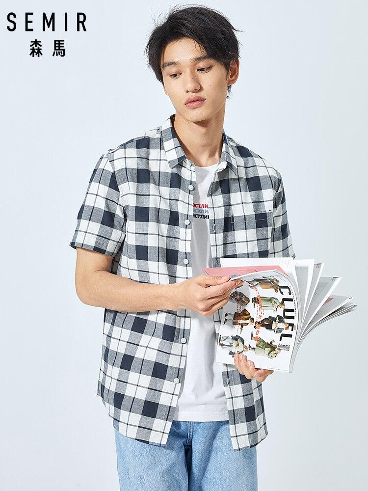 SEMIR Short Sleeve Shirt Men Plaid Shirt Korean Casual Shirt Tide Brand Shirt Male Inside Hong Kong Ins Tide Male