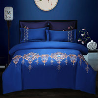 Blue green egyptian cotton embroidery luxury Bedding Set queen king size bed set soft Bedsheets linen wedding Duvet cover set
