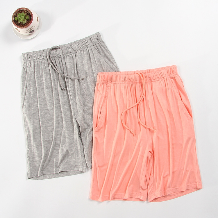 Pyjama trousers women shorts modal cotton solid plus size thin loose lounge elastic knee length sleep short summer 1