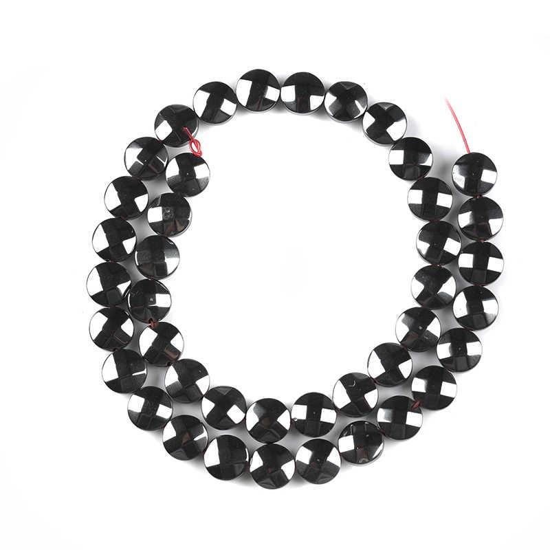 AAA kamień naturalny szlifowane okrągły jasny czarny hematyt koraliki koraliki 6/10/12mm do naszyjnik DIY bransoletka akcesoria do wyrobu biżuterii