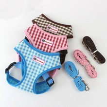 Breathable plaid pet chest straps Teddy vest puppy strap S pink dog collar tag harness leash For Small Dogs Cats
