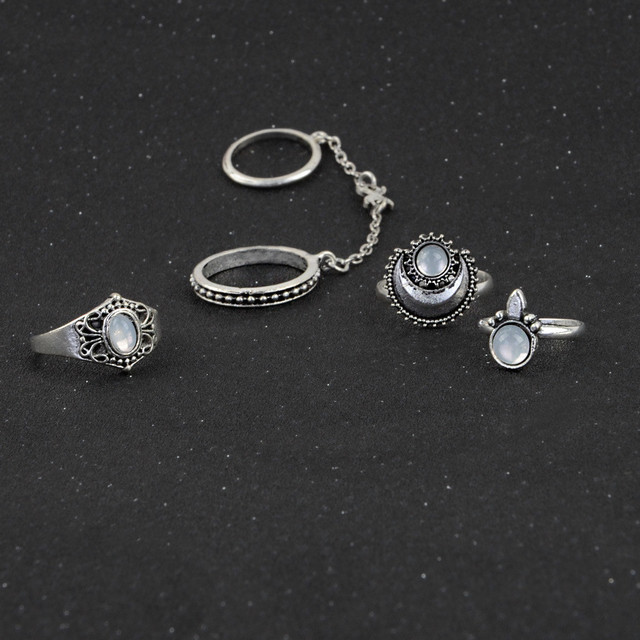 brixini.com - Nessa™ 5pcs Silver Above Knuckle Rings