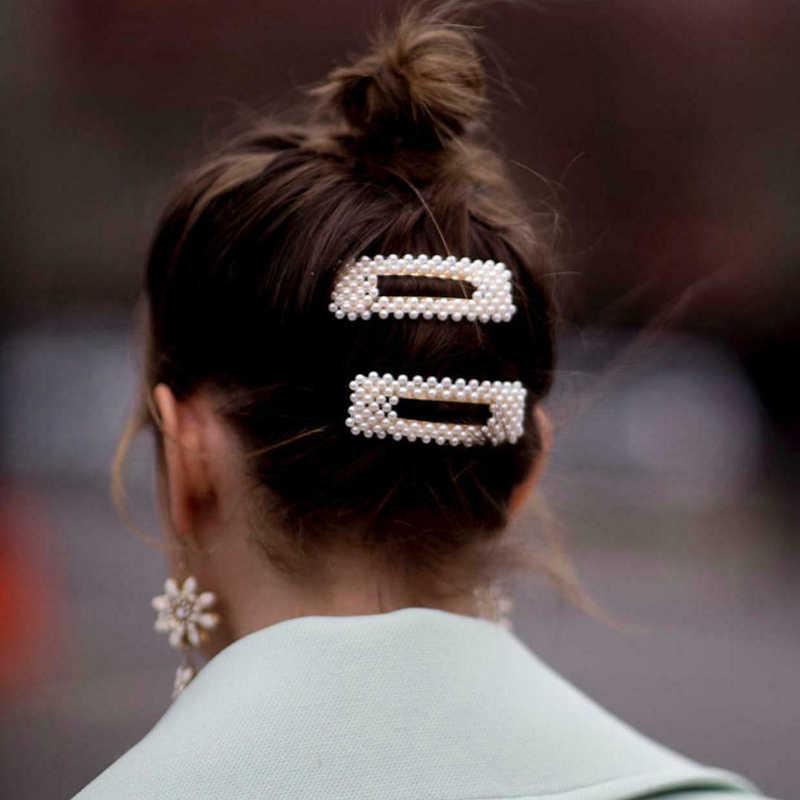 סיטונאי 4/3/1pc אופנה נשים פרל שיער קליפ הצמד Barrette מקל משולש אלגנטי תכשיטי Hairgrip קוריאני סגנון