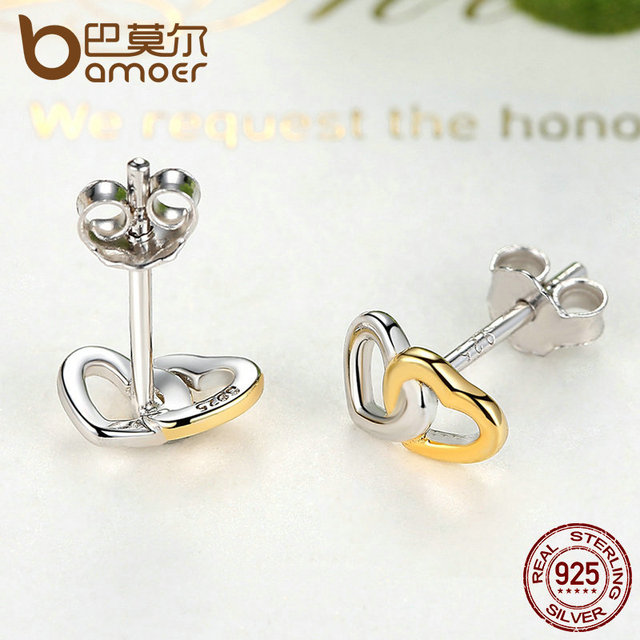 Sterling Silver Heart to Heart Small Stud-Earrings