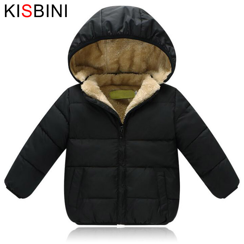 KISBINI Kids Winter Jacket Thick Velvet Girls Boys Coat Warm Children's Jackets Cotton Infant Clothing Padded Jacket Kid Clothes toddler girls hello kitty clothes set winter thick warm clothes plus velvet coat pants rabbi kids infant sport suits w133