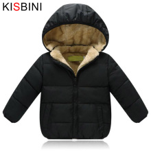 KISBINI Winter Down Jacket For Girls Boys Unisex Warm Thick Velvet Coat Kids Childrens Hooded Padded Coat Clothes