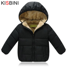 KISBINI Kids Winter Jacket Thick Velvet Girls Boys Coat Warm Childrens Jackets