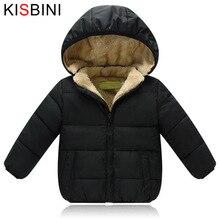 KISBINI zimowe ocieplane kurtki dla dziewczynek chłopcy Unisex ciepły gruby aksamitny płaszcz dziecięcy z kapturem usztywnianym płaszczem