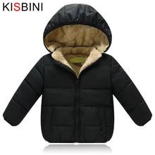 KISBINI/зимняя куртка пуховик для девочек и мальчиков; Теплое плотное вельветовое пальто унисекс; Детское Стеганое пальто с капюшоном; Одежда