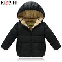 Kisbini/зимняя куртка пуховик для девочек и мальчиков; Теплое