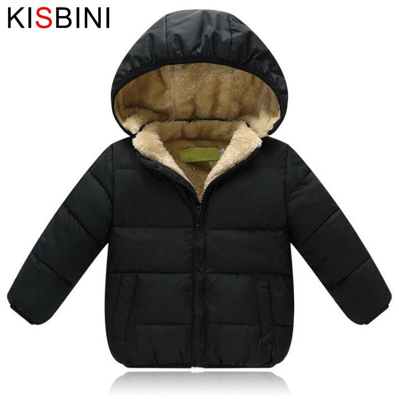 Kisbini детская зимняя куртка толстый бархат Обувь для девочек пальто для мальчиков теплые детские Куртки хлопок младенческой Костюмы стегана...