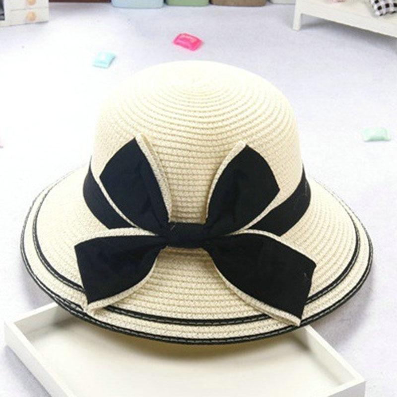 Blokk nap gyermek baba Lány fiú felnőtt női nyári kalap brit retro nagy íj hercegnő curling szalma strand kalap lm11