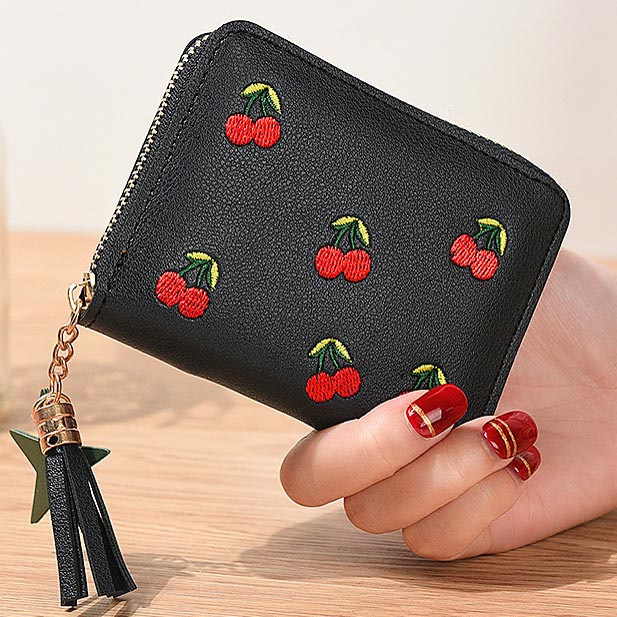 Women Wallets Lovely Cherry Girls Short Lady Zipper Coin Purse Tassel Woman Clutch Purses Cards Holder Wallet Burse Bags Pocket