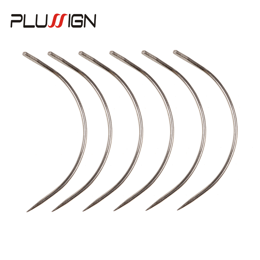 Plussign Hot Sell 12Pcs/Lot C Shape Curved Needles With Smooth Surface Wig Making Crochet Braids Ventilating Hair Weaving Needle