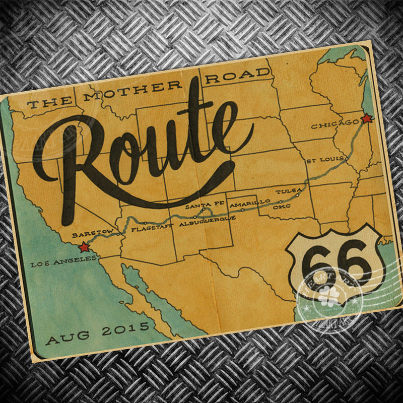 Free Ship Vintage Poster Usa Route 66 Map Retroold Paper Painting Wall Art Sticker Print Picture