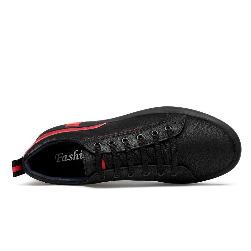 Casual Noir white Cuir Véritable D'été Taille Red Réel Mode Grande Black En 46 Lacent 36 Hommes Chaussures Red qAc07vz
