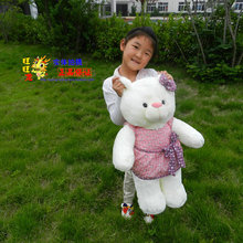 The lovely white teddy bear doll plush teddy bear toy with pink skirt and bow birthday gift about 90cm