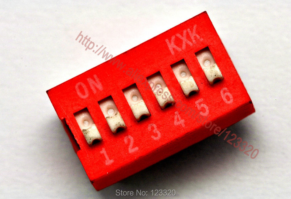 50pcs/lot 6 Positions DIP Switch, 2.54MM Pitch, Red