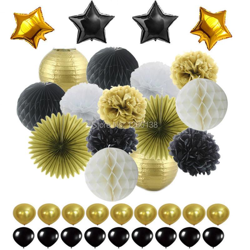블랙 골드 화이트 파티 장식 조직 종이 Pom Pom 벌집 볼과 종이 랜턴 호일 별 & 라텍스 풍선 파티 부탁