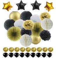 Decorações da Festa de Ouro Branco preto Papel Tissue Pom Pom Bola de Favo de mel e Lanterna De Papel Estrela Foil & Balão De Látex para Favor de partido