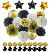 Schwarze Gold Weiß Party Dekorationen Seidenpapier Pom Pom Waben Ball und Papierlaterne Folie Star & Latex Ballon für Party Favor