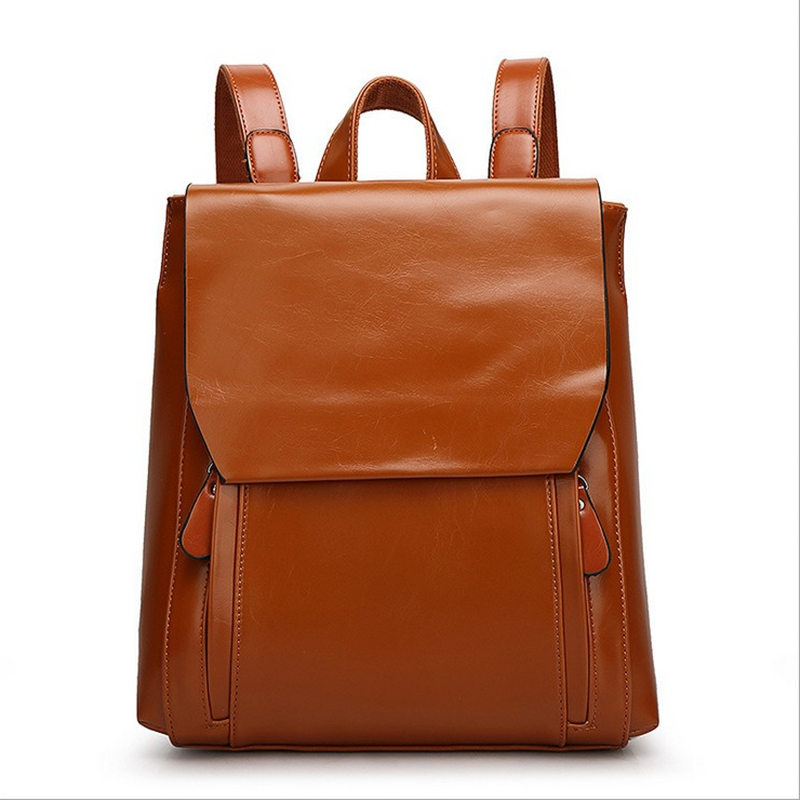 2017 Fashion High Quality Women s PU Leather Bags Brand Design Women Backpack Female Oil Wax
