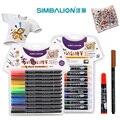 Simbalion ткань и футболка маркер для рисования линий 12 цветов двуглавая текстильная краска ткань пигментный маркер DIY художественные принадле...