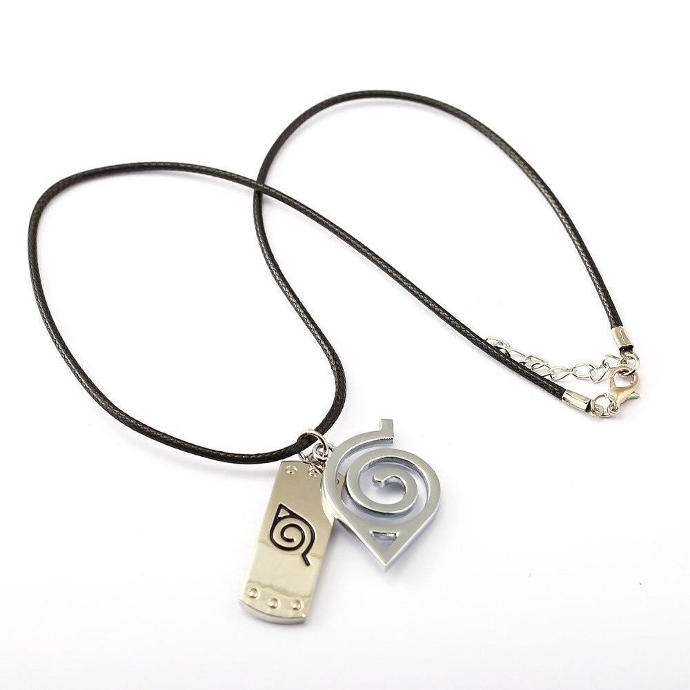 10pcs/lot NARUTO Choker Necklace Leaves Ninja Headband Pendant Men Women Gift Anime Jewelry Accessories