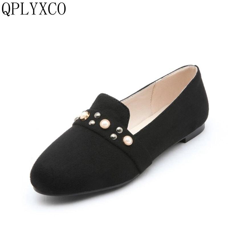 QPLYXCO Plus sale New Fashion Arrival Women Flats  Ballet Shoes Woman Small Big Size 31-52 Round Toe 4 Clours Casual Shoes 17-2