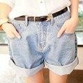 Verão novo Estilo Punk Rock Moda Cintura Alta Roll-up Do Vintage Hem Jeans Curto calças de Brim Das Mulheres + Cinto Curto XS-XL Grátis grátis
