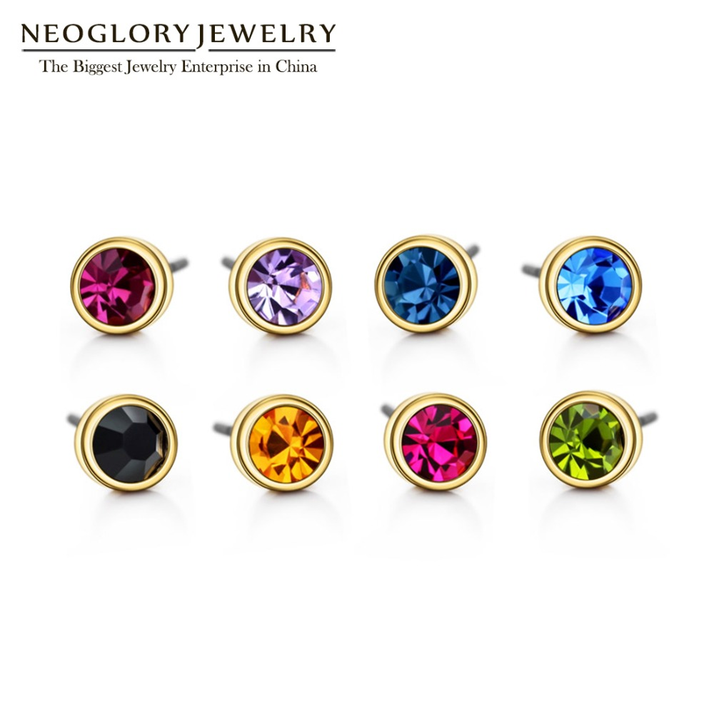 3cd0f951f Neoglory Austrian Rhinestone Charm Light Yellow Gold Color Colorful Stud  Earrings Set For Women India Jewelry 2017 New Colf